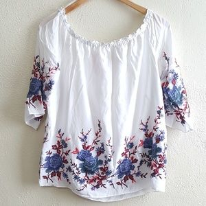 Catherine M. Off the Shoulder Embroidered Blouse.